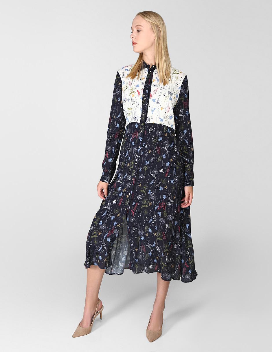 Vestido Diseño Floral Pennyblack Marino Con Casual Azul eID29EWHY